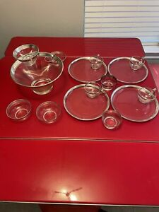 Vintage Dorothy Thorpe Silver Rimmed Glassware Mix (15 Pieces)
