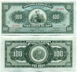 PERU NOTE 100 SOLES DE ORO 20.8.1965 P 90 AXF