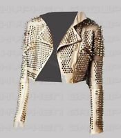 New Woman Gold Full Silver Spiked Studded Unique Punk Rock Biker Leather Jacket