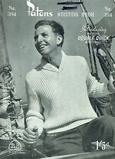 ~ VINTAGE Men, Women, Child's Jumpers & Cardigan's  KNITTING BOOK ~ PATONS 394