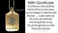 """US ARMY 24"""" TRIBUTE NECKLACE USA EAGLE INSIGNIA MILITARY PATRIOTIC - FREE SHIP'"""