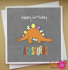 Personalised Handmade Kids Birthday Card 'Dinosaur Name' Boys Any Name Fun Card