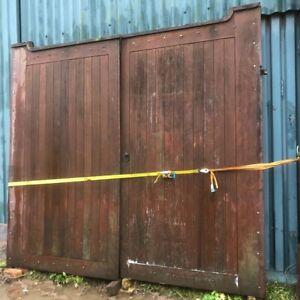 Large Substantial Hardwood Gates (11ft X 10ft) Large Iron Hinges & Locks.