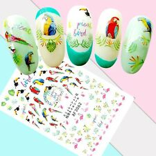 Nail Art Stickers Transfers 3D Self Adhesive Parrots Flamingos (XF3062)