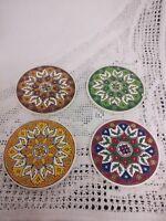 Vintage Greek Art Pottery Set Of 4 Coasters Handmade Troulis Rodes Greece