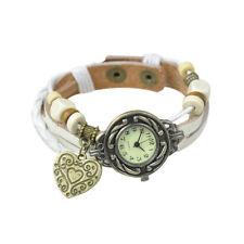 Retro Girls Heart Beads Braided Bracelet Leather Quartz Wrist Watch