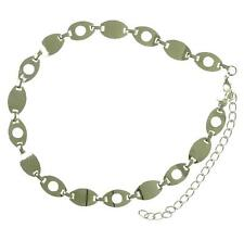 New NWT Style & Co. Chain Belt Link Adjustable Nickle Silver Retro Punk Rock M/L