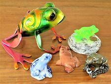 5 Frog Figurines Porcelain Hard Stone Metal