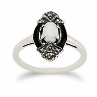 Gemondo Sterling Silver 0.26ct Opal & Marcasite Art Deco Ring