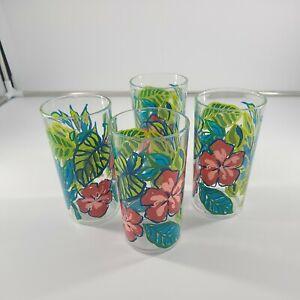 Set Of 4 Plastic Tumblers 16 Oz Tropical Flowers
