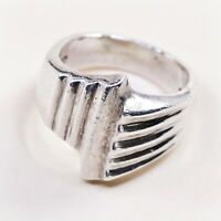 Size 6, Vtg Mexico Sterling Silver Handmade Ribbed Ring taxco 925 Silver Band