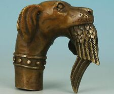 "Collect old bronze carved ""Dog Bitten Birds"" statue walking stick cane head"