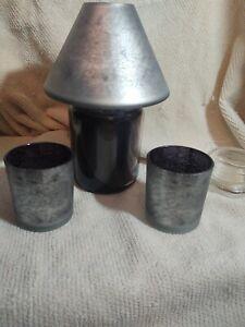 Yankee Candle Spiderweb Glass Shade & 2 Votive Holders - NEW