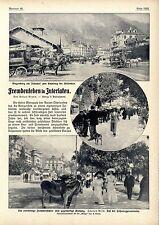 Schweiz Fremdenleben in Interlaken Wagenburg am Bahnhof Straßenleben Kurpark1911