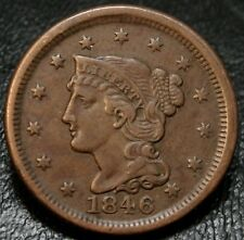 1846 Braided Hair Large Cent Small Date N-5  XF 1C Early Copper Type Coin