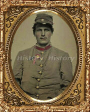 CIVIL WAR PHOTOGRAPH Unidentified soldier in Confederate artillery jacket