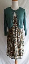 Madison Leigh Retro Inspired Pop Art Print Dress & Beaded Cardigan Sweater Sz. 8