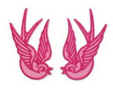 Pair Pink SWALLOW Sparrow BIRD Tatoo Embroidery Iron on Biker Patch