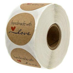 Etichette Adesivo Fatto a Mano con Amore Decorazione Kraft Carta 500pcs Regalo