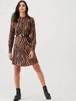 Warehouse ❤NEW❤ Womens Animal Tiger Print Long Sleeve Flippy Dress 8 to 18
