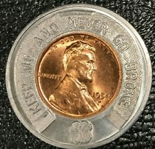 Encased Coin Au/Unc 1954 D Lincoln Cent Johnson'S Sunoco Ft Wayne Ind -Oct196