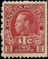 Canada #MR5 mint VF OG VLDG 1916 King George V Admiral 2c carmine War Tax