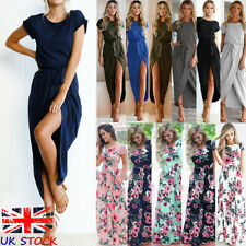 UK Womens Ladies Oversized Floral Holiday Party Swing Casual Maxi Long Dress