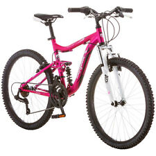"24"" Mongoose Ledge Girls Mountain Bike 21 Speed Full Suspension Aluminum Bicycle"
