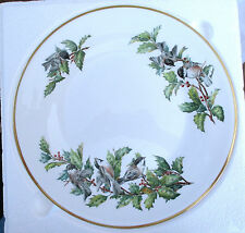 CHICKADEES AND HOLLY BOEHM Plate Fine Bone Porcelain Made in ENGLAND 10.75 in di