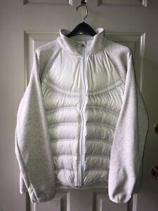 London Fog Sweater-Sleeved Puffer Jacket Ladies XXL Lt Gray/Silver