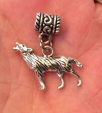 SILVER TONE 3D WOLF CHARM AND BRACELET BAIL BEAD