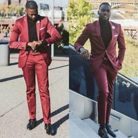 Burgundy Men Suits 2 Piece Wedding Groom Party Formal Tuxedo Blazer Tailored Fit