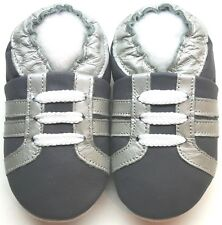 Minishoezoo boots gray 18-24 m soft sole leather kids shoes zoo slippers