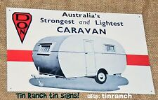 vintage DON CARAVAN tin SIGN new Australian advert old RETRO bondwood classic