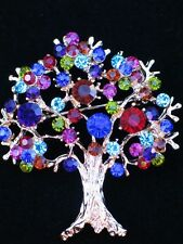 RED BLUE TEAL BONSAI FRUIT OAK EVERGREEN MAPLE FAMILY TREE PIN BROOCH JEWELRY 2""