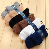 Men's Cashmere Socks Autumn Winter Warm Slipper Bed Socks Pure Color Fuzzy Socks