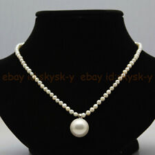 4-5mm Natural White Pearl & 14mm Round White Shell Pearl Pendant Necklace 18''