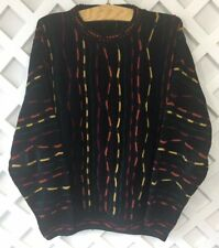 Vintage Protege Collection Sweater Mens Size L Black Multi Color 80s 90s Cosby