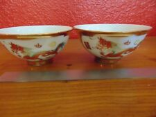 Rare 2 Chinese vintage gilded dragon/phoenix porcelain bowls with mark