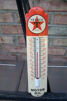 Texaco Motor Oil Porcelain Metal Thermometer - Working Condition !!