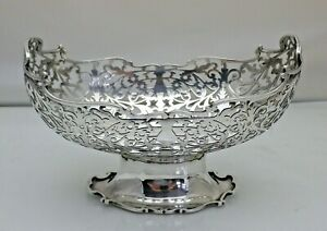 Antique Solid Sterling Silver Oval Pierced Bowl on a Foot Sheffield 1904 (VWN)
