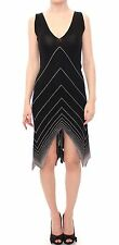 NWT $750 ALICE PALMER Knit Cocktail Dress Low V Neck Black White Knitted US8/M