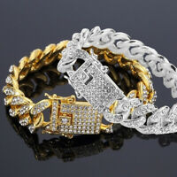 Men's Hip Hop Cuban Link Chain Bracelet Shiny Rhinestone Inlaid Bangle Jewelry
