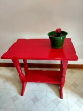 Vintage Asian Dark Red Painted Retro Wooden End Side Lamp Occasional Table Shelf