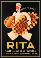 1930'S ART DECO RITA FRENCH WAFFLE BISCUITS  ADVERTISEMENT A3 POSTER ART PRINT