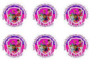 24 Personalised Pink Paw Patrol, Birthday, Goody Bag Stickers Party Set 2
