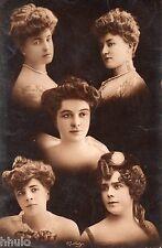 BE668 Carte Photo vintage card RPPC Femme woman multi visage photomontage