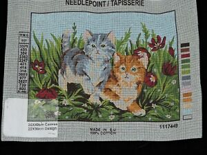 "Collection d' Art Gobelin Needlepoint canvas ""Cat and Kitten"""