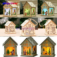LED Light Wood House DIY Christmas Tree Hanging Ornaments Holiday Decoration