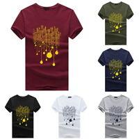 Summer Mens Fashion Cotton T-Shirts Casual Short Sleeve Crew Neck Tops Slim Tops